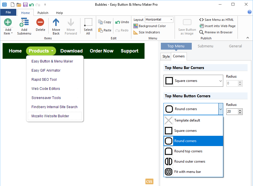 Easy Button & Menu Maker download current version - coolpfiles