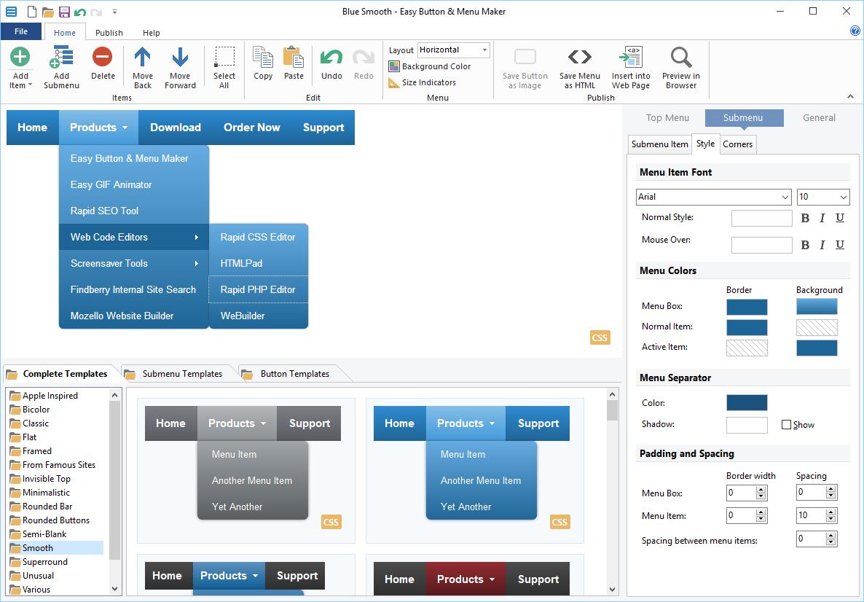 Easy Button & Menu Maker - erstellen Sie Web-Buttons und Menüs